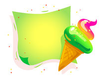 Vector flat cartoon banner with colorful paper sheet and tasty shiny ice cream cone Royalty Free Stock Photography