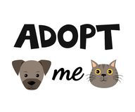 Vector flat cartoon dog and cat illustration icon design. Adopt me. Help homeless animal concept. Isolated on white vector illustration