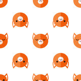 Vector flat cartoon fox heads seamless pattern Royalty Free Stock Images