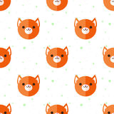 Vector flat cartoon fox heads seamless pattern Royalty Free Stock Photos