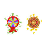Vector flat wheel of fortune, roulette wheel. Vector flat cartoon gambling lucky wheel of fortune with dollar rain around, casino roulette wheel with golden Royalty Free Stock Images