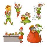 Vector flat elves boy, girl christmas scenes set. Vector flat cartoon hand drawn christmas elves scenes set. boys, girls characters in santa hats, stockings Stock Images