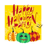 Vector flat cartoon illustration with Halloween decoration elements on white background Royalty Free Stock Photo