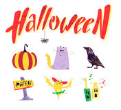 Vector flat cartoon illustration with Halloween funny characters, Stock Image