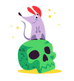 Vector flat cartoon illustration with Halloween funny mouse character sitting on green skull isolated on white background. Stock Photos