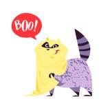 Vector flat cartoon illustration of Halloween raccoon character Royalty Free Stock Photography