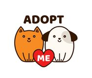 Vector flat cartoon illustration icon. Design.Adopt me. Dont buy. Dog Cat Pet adoption. Puppy pooch kitty cat looking up to red heart.Help homeless animal Royalty Free Stock Image