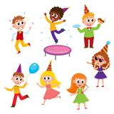 Vector flat cartoon kids at party set. Boys eat piece of cake, jumping at trampoline, dancing with air balloon, girls singing at microphone, dancing and Royalty Free Stock Photography