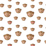 Vector flat cartoon monkey heads with different Stock Photography