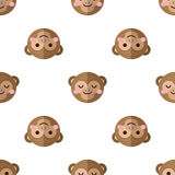 Vector flat cartoon monkey seamless pattern Royalty Free Stock Image