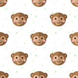 Vector flat cartoon monkey seamless pattern Stock Images