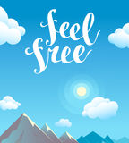 Vector flat cartoon mountain landscape summer illustration. Royalty Free Stock Photos