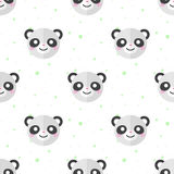 Vector flat cartoon panda heads seamless pattern Royalty Free Stock Photos