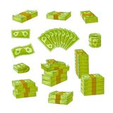 Vector flat cash money pile, stack set. Vector flat cash money piles, stack set. Bank hundred dollar banknotes. Business finance savings profit success, jackpot Stock Photos