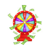 Vector flat casino wheel of fortune isolated Royalty Free Stock Photos