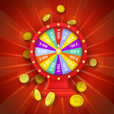 Vector flat casino wheel of fortune isolated. Vector flat cartoon lucky wheel of fortune with golden coins around. Illustration on a red background. Sign of Stock Photography