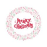 Vector flat Christmas congratulation with lettering & icons. Fir tree, decoration ball, snowflake, gift box, bell - isolated on white background. Package Royalty Free Stock Photo