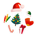 Vector flat christmas design elements set. Stock Photo