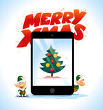 Vector flat christmas elf portrait and fir tree on tablet screen set. Santa elf character. Cartoon style. Happy New Year, Merry Xmas design. Good for Royalty Free Stock Photography