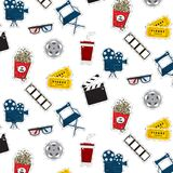 Vector flat cinema stickers pattern movie, camers, tickets, popcorn, glasses, chair, filmstrip. Tv symbol illustration. Texture. Modern graphic design. Film Stock Photos