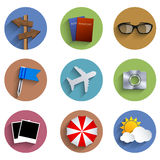 Vector flat circle tarvel icon set. Eps10 Stock Photography