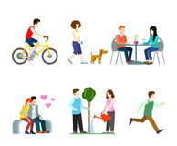 Vector flat city street pedestrians: bicycle rider, couple. Flat high quality city street pedestrians icon set. Bicycle rider dog walker cafe table bench vector illustration