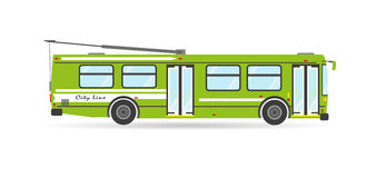 Vector flat city transit eco trolleybus public transport  vehicle Royalty Free Stock Photos