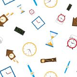 Vector flat clock types icon seamless pattern. Vector flat types of clocks seamless pattern. Digital wall mounted clock, hourglass, sandglass, table clock, alarm Royalty Free Stock Photos