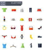 Vector flat clothes icons set Royalty Free Stock Image