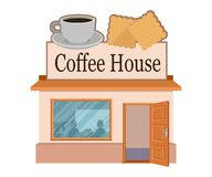 Vector flat coffee house. Facade of coffee house isolated on white background. Street coffee house. Freshly brewed coffee. Cafe. Emblem. Vector graphics to royalty free illustration