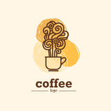 Vector flat coffee logo sample. Royalty Free Stock Photography