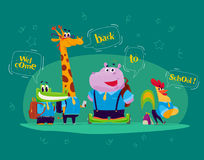 Vector flat collection of happy funny animal students - crocodile, giraffe, hippo, rooster - with speech bubbles. Stock Image