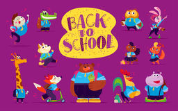 Vector flat collection of happy funny animal students Royalty Free Stock Photos