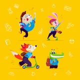 Vector flat collection of happy funny animal students element set  on yellow background. Stock Photography