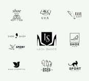 Vector flat collection of stylish modern shoe logo for women, men and kids. Shoe icons set. Shoe store insignia Royalty Free Stock Photography