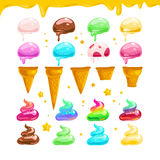 Vector flat collection of tasty sweet colorful ice cream cones elements isolated Royalty Free Stock Image