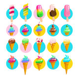 Vector flat collection of tasty sweet ice cream cone and eskimo. On white background. Food illustration good for menu and packaging design. Cold delicious ice Royalty Free Stock Photos