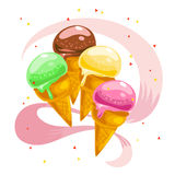 Vector flat collection of tasty sweet ice cream cones isolated on white background. Stock Image