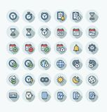 Vector flat color thin line icons set with date and time outline symbols. stock illustration