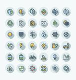 Vector flat color thin line icons set with environmental and ecology outline symbols. Vector thin line icons set and graphic design. Illustration with Royalty Free Stock Images