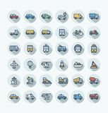 Vector flat color thin line icons set with public transport, cars outline symbols. Vector flat thin line icons set, graphic design elements. Illustration with Royalty Free Stock Image