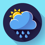 Vector flat color weather meteorology icon with long shadow. Vector flat color weather icon meteorology icon with long shadow - rain and sun Stock Image