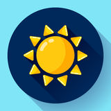 Vector flat color weather meteorology icon with long shadow. Vector flat color weather icon meteorology icon with long shadow - sun Stock Photos