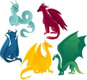 Vector flat colored dragons set. Vector flat cartoon colored blue, red yellow and green majestic mythical dragons set. Isolated illustration on a white Stock Photo