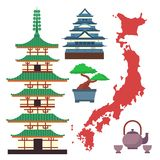 Vector flat colored symbols of Japan travel and asia tourism design packaging fabric traditional fuji oriental. Vector flat colored symbols of Japan. Travel and Royalty Free Stock Image