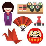 Vector flat colored symbols of Japan travel and asia tourism design packaging fabric traditional fuji oriental. Vector flat colored symbols of Japan. Travel and Stock Image