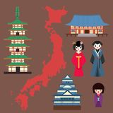 Vector flat colored symbols of Japan travel and asia tourism design packaging fabric traditional fuji oriental. Vector flat colored symbols of Japan. Travel and Royalty Free Stock Images