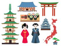 Vector flat colored symbols of Japan travel and asia tourism design packaging fabric traditional fuji oriental. Vector flat colored symbols of Japan. Travel and Stock Photo