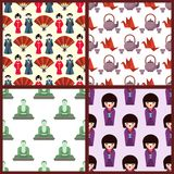 Vector flat colored symbols of Japan travel seamless pattern background asia tourism design packaging fabric traditional. Vector flat colored symbols of Japan Stock Photos