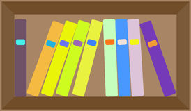 Vector flat colorful bookshelf layout Stock Photography